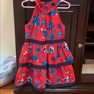 Girls red floral print dress